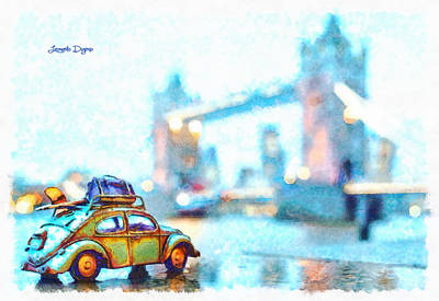 Traveler Digital Art - Old Beetle Visiting London - Da by Leonardo Digenio