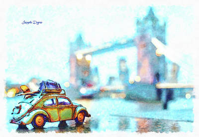 Visiting Digital Art - Old Beetle Visiting London by Leonardo Digenio
