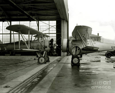 Bi Planes Photograph - Old Biplanes In A Hanger  by Jon Neidert