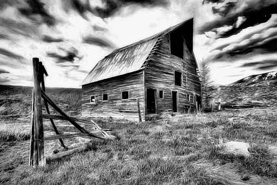 Photograph - Old Black And White Barn Colorado. by James Steele