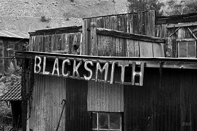 Photograph - Old Blacksmith Shop Sign Bw  by David Gordon