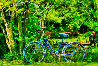 Photograph - Old Blue Bicycle by Anna Louise