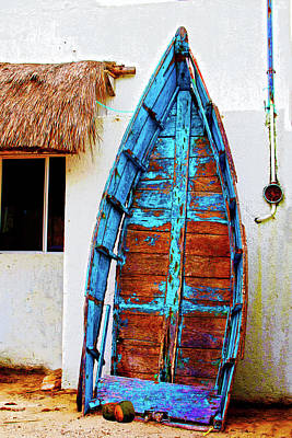 Photograph - Old Blue Boat - Mexico by Susan Vineyard