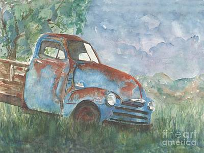 Old Blue Chevrolet In The Summertime Watercolor Original