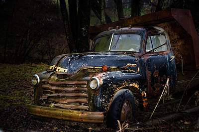 Photograph - Old Blue Chevy Dump Truck by Cora Ahearn