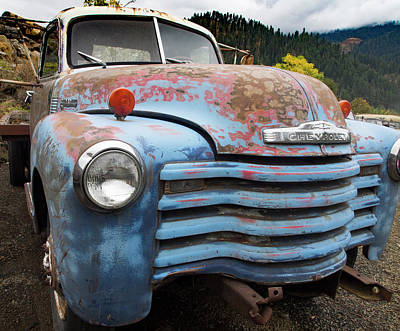 Photograph - Old Blue Chevy by Jean Noren