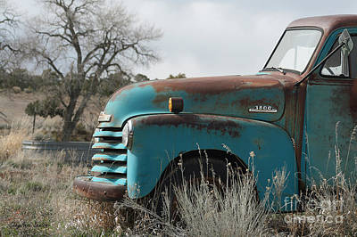 Old Truck Photograph - Old Blue Chevy Wtih Watertank by CheyAnne Sexton