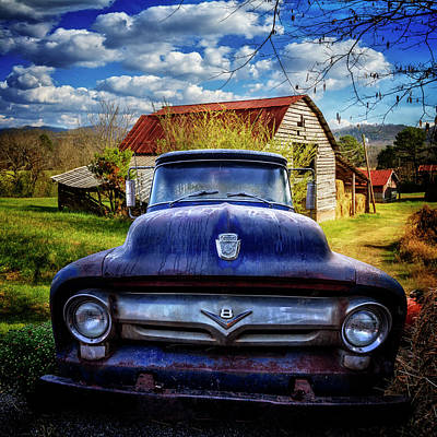 Photograph - Old Blue Ford On The Farm by Debra and Dave Vanderlaan