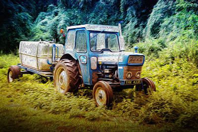Old Blue Ford Tractor Art Print