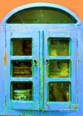 Photograph - Old Blue Kitchen Cupboard by Barbie Corbett-Newmin