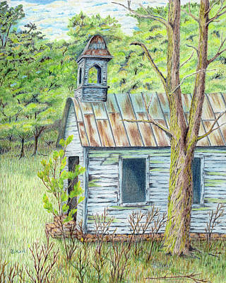 Old School House Drawing - Old Blue School House by Belinda Keal