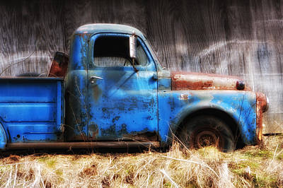 Photograph - Old Blue Truck by Ken Barrett