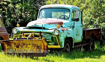 Photograph - Old Blue Truck Snowplow by Amy McDaniel