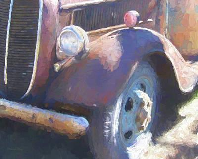 Digital Art - Old Blue Wheel by David King