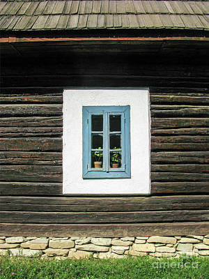 Rowing Royalty Free Images - Old Blue Wood Window Royalty-Free Image by Daliana Pacuraru