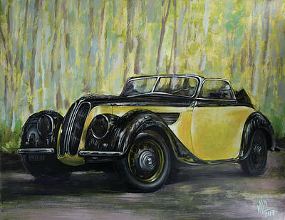 Painting - Old Bmw Yellow Car Painted On Leatheder, Vintage 1938 by Vali Irina Ciobanu