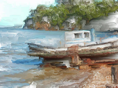 Painting - Old Boat At China Camp by Methune Hively