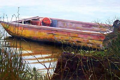 Old Boat At Mcclellandville Art Print by Elaine Schulstad