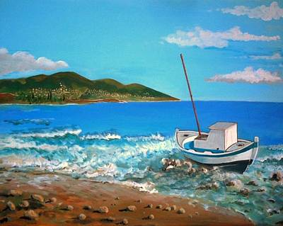 Old Boat At The Beah Art Print by Kostas Koutsoukanidis