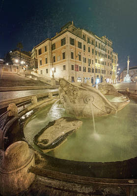 Photograph - Old Boat Fountain Rome Italy II by Joan Carroll