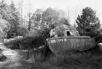 Photograph - Old Boat In A Boat Graveyard by Karen Molenaar Terrell