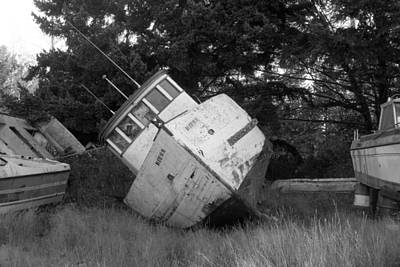 Photograph - Old Boat In Black And White by Karen Molenaar Terrell