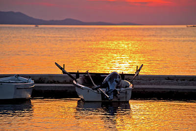 Photograph - Old Boat On Golden Sunset View by Brch Photography