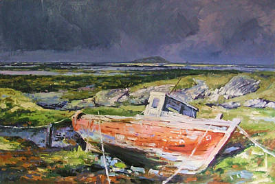 Old Boat On Shore Art Print by Conor McGuire