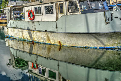 Photograph - Old Boat Reflections by Roberta Kayne