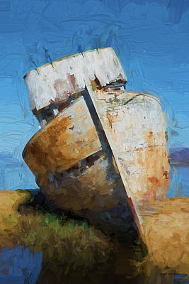 Photograph - Old Boat Tomales Bay I - Painterly by David Gordon