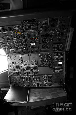 Cockpit Photograph - Old Boeing 727 Cockpit by Micah May