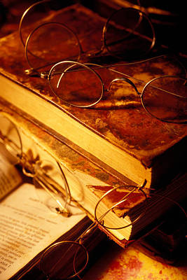 Old Books And Glasses Print by Garry Gay