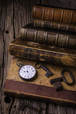 Knowledge Object Photograph - Old Books And Watch by Garry Gay