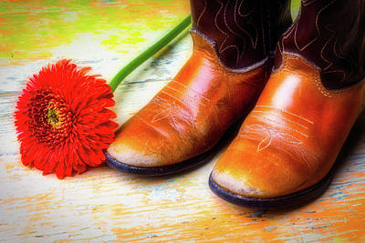 Photograph - Old Boots And Daisy by Garry Gay