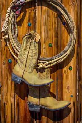 Old Boots And Rope On Fence Art Print by Garry Gay