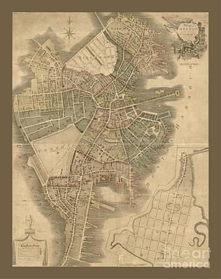 Old Boston Map Art Print by Pd