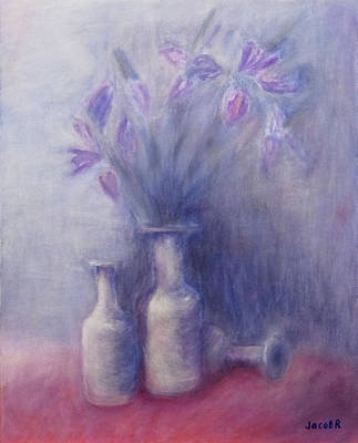 Still Life With Old Brown Bottle Painting - Still Life With Old Bottles And Irises by Jacob R