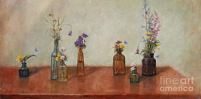 Antique Bottles Painting - Old Bottles And Wildflowers by Lori  McNee