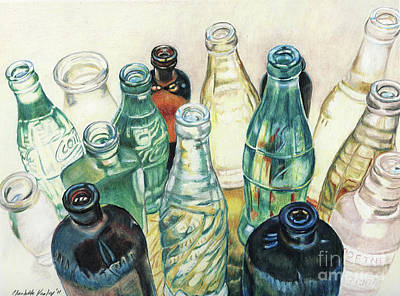 Colored Pencil Painting - Old Bottles by Charlotte Yealey