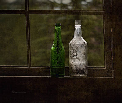 Photograph - Old Bottles In Window by Fred Denner