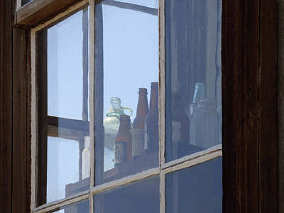 Photograph - Old Bottles In Window by Marcia Socolik