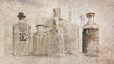 Photograph - Old Bottles With Texture by Barbara Henry