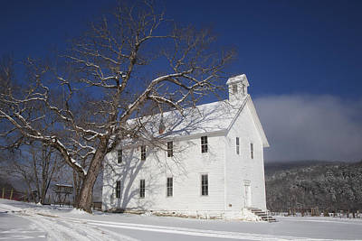 Old Boxley Community Building And Church In Winter Art Print