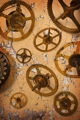 Metal Things Photograph - Old Brass Gears by Garry Gay