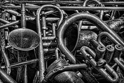 Saxophone Photograph - Old Brass Musical Instruments Bw by David Gordon