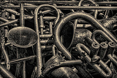 Saxophone Photograph - Old Brass Musical Instruments Toned by David Gordon