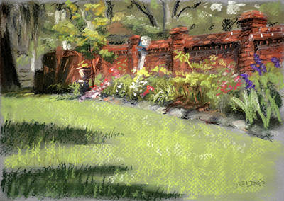 Beautiful Painting - Old Brick Garden Wall by Christopher Reid