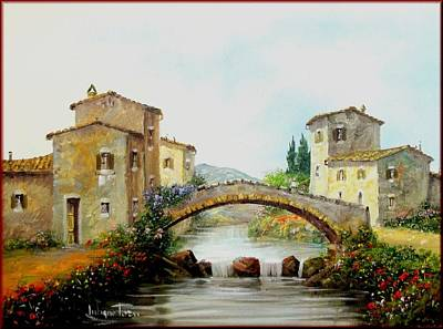 Italy Town Large Painting - Old Bridge In Tuscany by Luciano Torsi