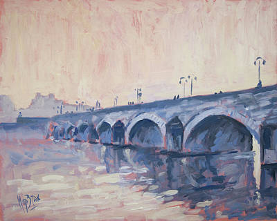 Sint Servaasbrug Painting - Old Bridge Of Maastricht In Warm Diffuse Autumn Light by Nop Briex