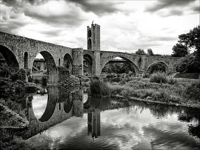 Built Structure Photograph - Old Bridge With Reflection by By Gargomo